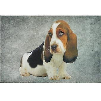 Doormat in grey Basset puppy Dog
