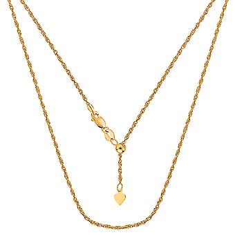 10k Yellow Gold Adjustable Rope Link Chain Necklace, 1.0mm, 22
