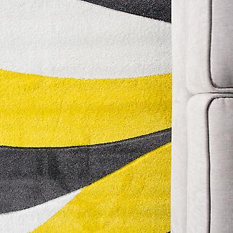 Contemporary Yellow & Grey Wave Hall Runner Rug - Rio