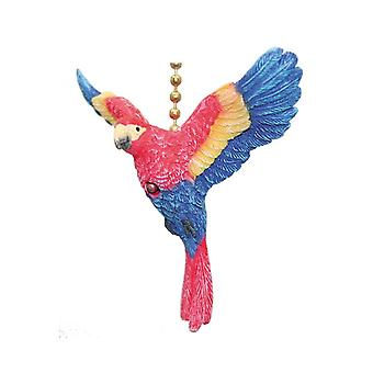 Tropical Red and Blue Macaw Parrot Bird Ceiling Fan or Light Pull
