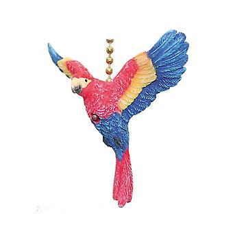 Tropisk rød og blå Macaw papegøje fugle loft Fan eller lys Pull