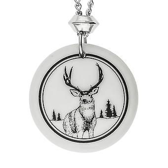Handmade Mule Deer Totem Round Shaped Porcelain Pendant