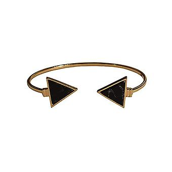 Minimalist chic marble statement cuff bracelet triangle black