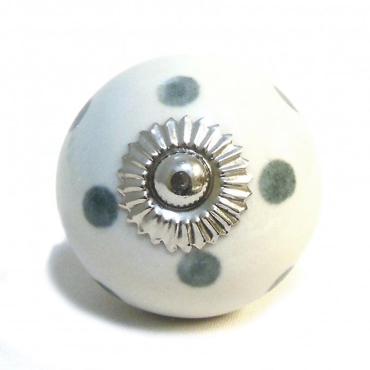 White / Grey Spots Ceramic Cupboard Knob