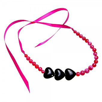 Camille Pink And Black Heart Ribbon Necklace