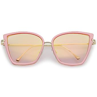 Women's Oversize Cat Eye Sunglasses With Slim Arms Colored Mirror Lens 56mm