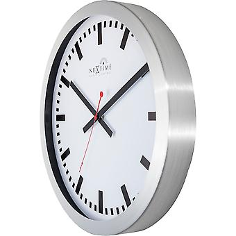 Nextime Wall Clock 35 Cm Ø Aluminium White Station Radio Controlled Dcf