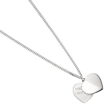 Pendant heart - you're my true love 925 sterling silver frosted heart pendant