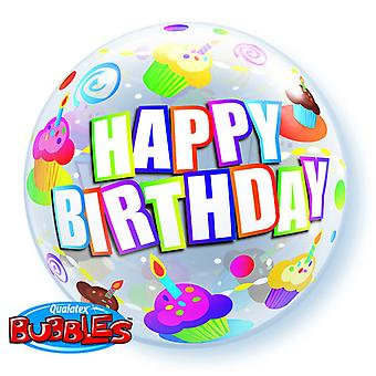 Qualatex 22 Inch Colourful Cupcakes Birthday Bubble Balloon