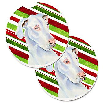 Great Dane Candy Cane Holiday Christmas Set of 2 Cup Holder Car Coasters