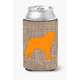 Tibetial Mastiff Burlap and Orange Can or Bottle Beverage Insulator Hugger
