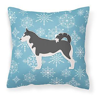 Winter Snowflake Siberian Husky Fabric Decorative Pillow