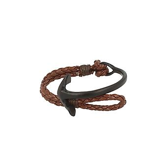 Baxter jewelry London jewellery half Bangle - half strap anchor black leather strap dark brown Maritim 19 cm