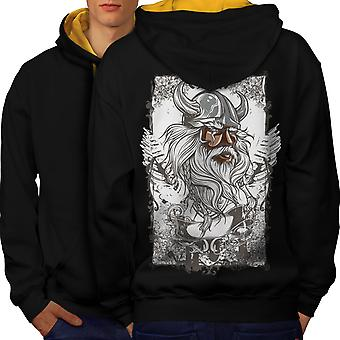 North Warrior Face Men Black (Gold Hood)Contrast Hoodie Back | Wellcoda