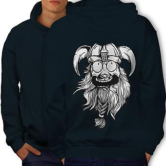 Crazy North Joke Men NavyHoodie Back | Wellcoda