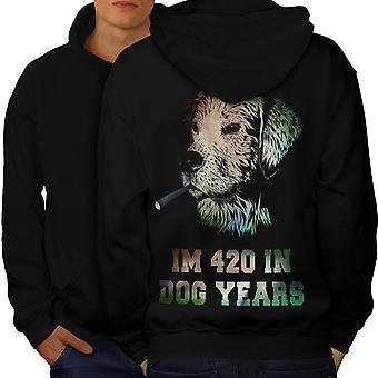 42 hond jaar onkruid mannen BlackHoodie rug | Wellcoda
