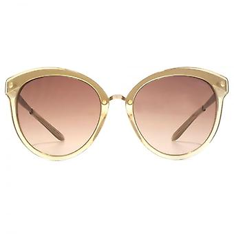 Guess Flared Round Sunglasses In Nude Gold