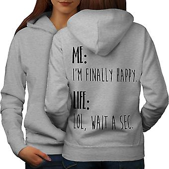 Happy Life Joke Women GreyHoodie Back | Wellcoda