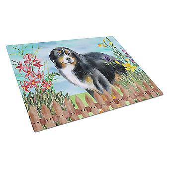 Bernese Mountain Dog Spring Glass Cutting Board Large