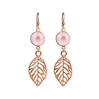 GEMSHINE earrings with Rose Quartz and leaves. Natural jewelry earrings 925 gold plated silver, or rose gold. Made in Munich / Germany. In the elegant jewelry
