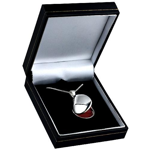 Silver 30x20mm plain tear drop Locket with Curb chain