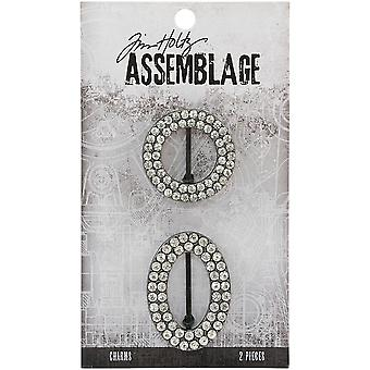 Tim Holtz Assemblage Charms 2/Pkg-Round & Oval Jeweled Frames THA20137