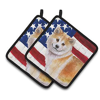 Carolines Treasures  BB9678PTHD Shiba Inu Patriotic Pair of Pot Holders