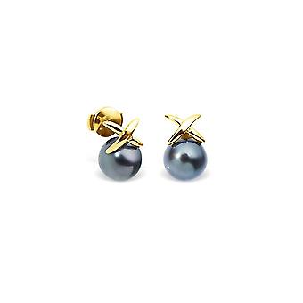 Earrings ears Tahitian pearls and yellow gold 750/1000