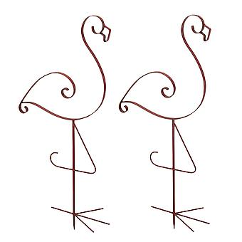 Set di 2 smalto rosa finito Metal Flamingo Garden stake