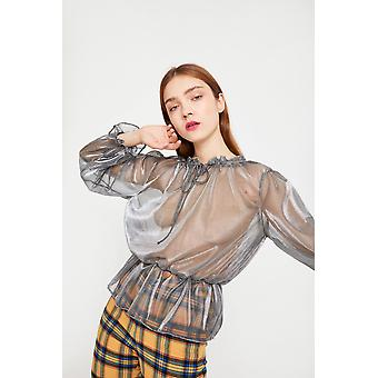 See You Never Metallic Blouse With Ruffle Detail