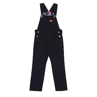 Children's Dark Blue Dungarees Age 6-12 Boys Girls Slim Overalls Check Lining