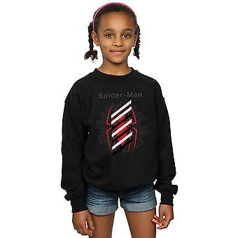Marvel Girls Spider-Man Logo Stripes Sweatshirt