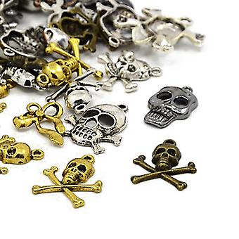 Packet 30 Grams Multicolour Tibetan 5-40mm Skull Charm/Pendant Mix HA06685
