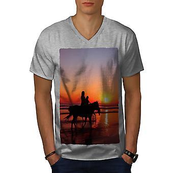Horses Ocean Photo Men GreyV-Neck T-shirt   Wellcoda
