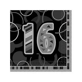 Anniversaire Glitz noir & argent 16e anniversaire - déjeuner NapkinsÂ
