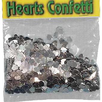 Konfetti sølv HJERTER pose 84g