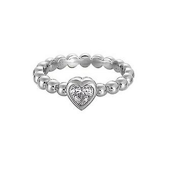 ESPRIT pellet ladies ring silver zirconia heart ESRG91751A1