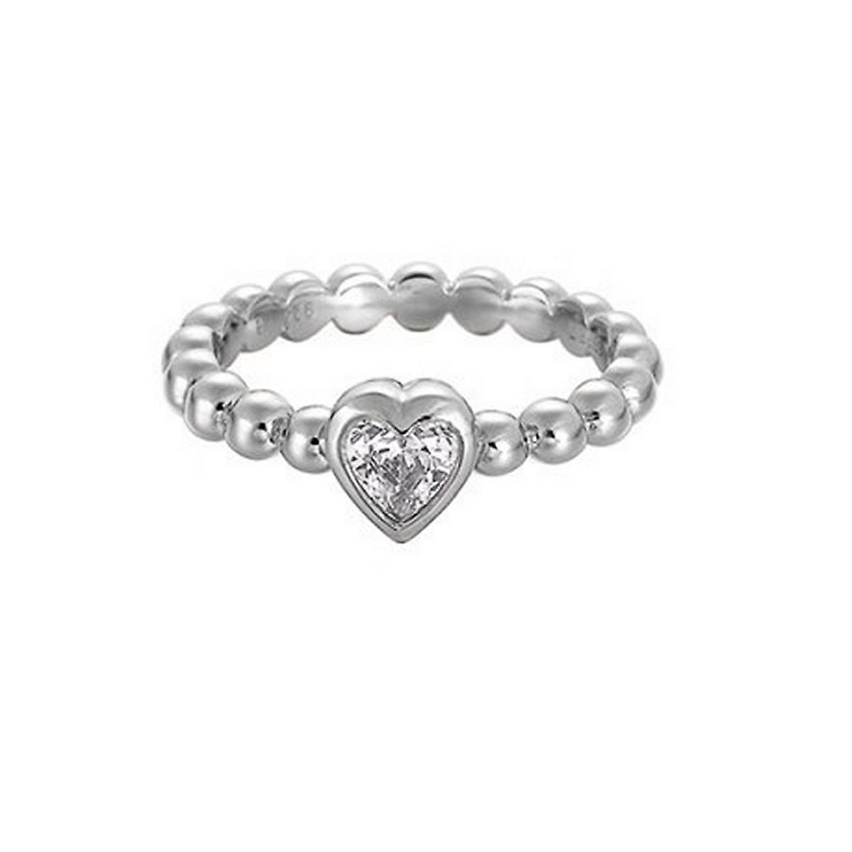 Esprit Damen Ring Silber Zirkonia Pellet Heart ESRG91751A1