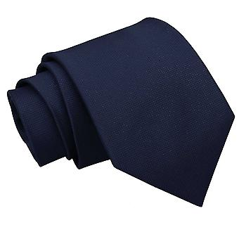 Navy Blue Solid Check Classic Tie