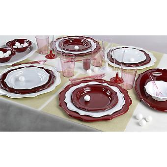 Elegante partiet parabolen satt romanse for 12 gjestene rød hvit 140-teilig party pakken