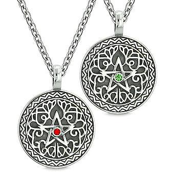 Pentagramm magische Starpower keltische Amulette lieben Paare oder beste Freunde grüne rote Kristalle Halsketten