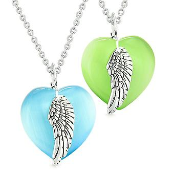 Amulets Angel Wing Hearts Love Couples or Best Friends Green Blue Simulated Cats Eye Necklaces