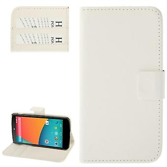 Mobiltelefon fall horisontella flip med kredit-kortplatser för LG Google nexus 5 / 980 vit