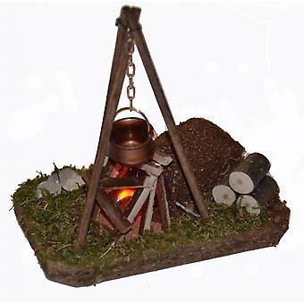 Accesorios de natividad estable Natividad conjunto fogata parpadeo luz madera caldera de cobre