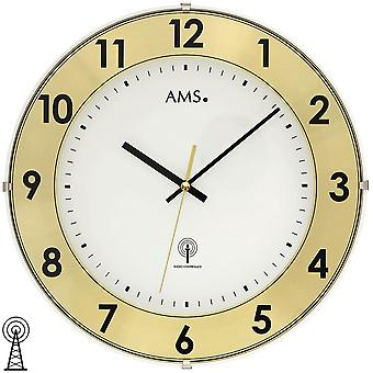 Wall clock radio plastic case with aluminum numbers ring mineral glass