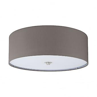 Eglo Pasteri 3 X E27 Pale Brown Drum Shade Ceiling Light