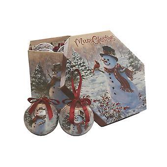 احتفالية للإنتاج 14pc ثلج عيد الميلاد عيد الميلاد Decoupage الحلي شجرة الزينة