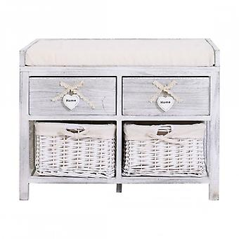 Shabby White bench With 2 drawers and 2 Pickled Wicker Baskets-Re4553-Rebecca's Furniture