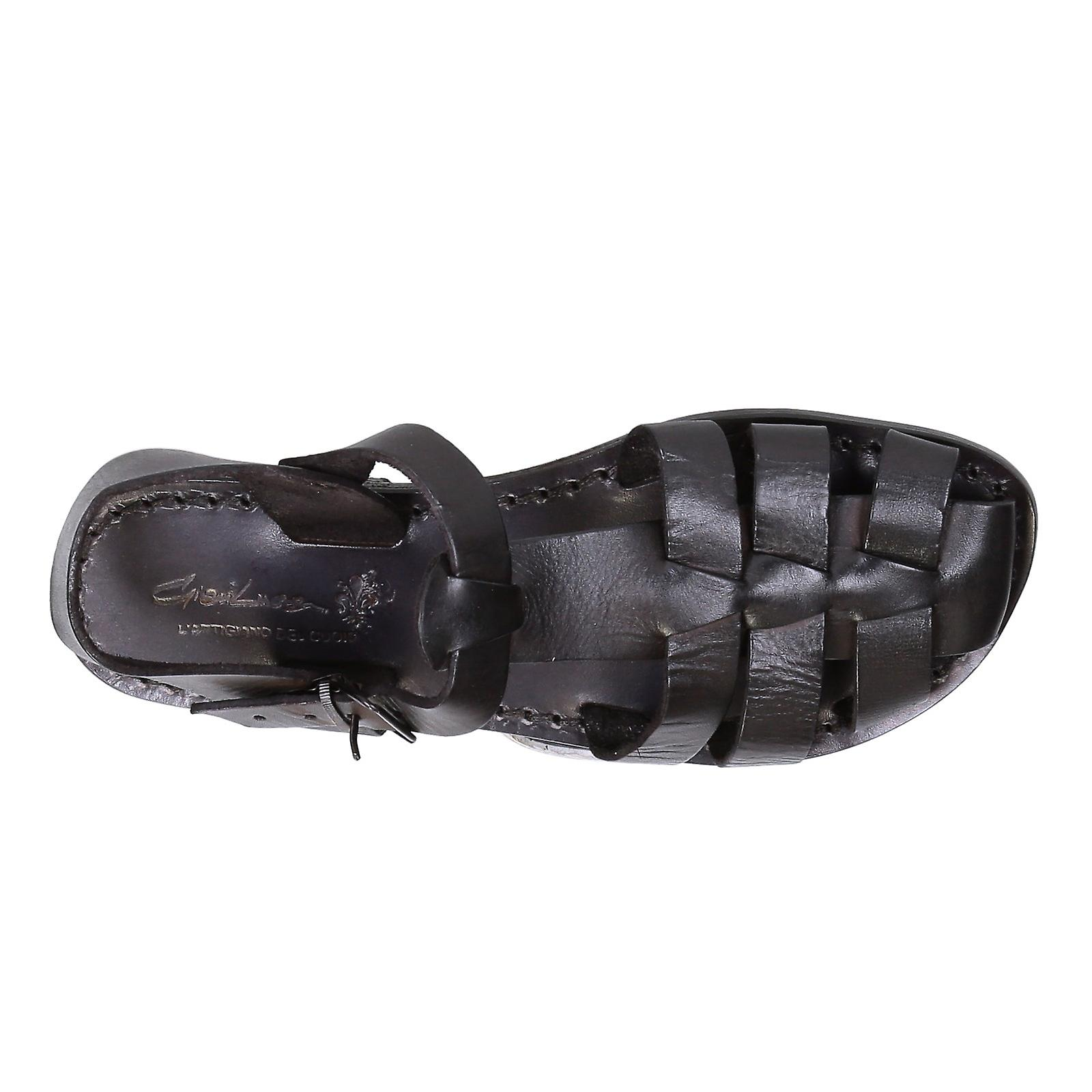 a9eae3ba7da4 Black flat sandals for women real leather Handmade in Italy
