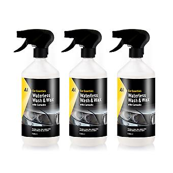 AA Car Essentials - 3 x 1L Waterless wash and wax with Carnauba Car Cleaner